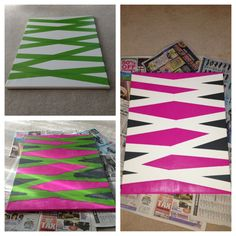 DIY canvas art with frog tape and acrylic paint.