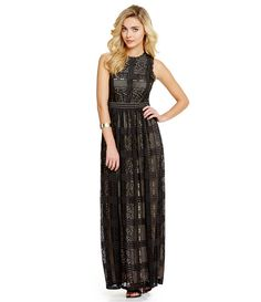 London Times Lace Illusion Maxi Dress