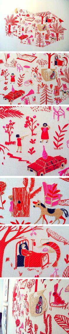 Hasta Mostla, an interdisciplinary project between women embroiderers from Jaltocán (México) and artists/illustrators from from México and Iberoamérica