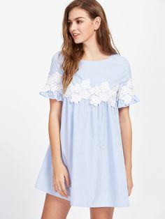 d4c96b643 Floral Lace Applique Frill Sleeve Striped Babydoll Dress
