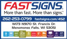 FASTSIGNS of Menomonee Falls is a proud sponsor of Germantown Little League. Check us out at fastsigns.com/452, call us at #262-253-0799, email us at 452@fastsigns.com, or come visit us at W173N9170 St. Francis Drive, Suite 1, Menomonee Falls, WI 53051