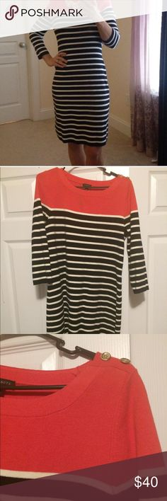 Talbots Navy Blue & White Striped Sweater Dress Talbolts long sleeve coral block top color, two gold buttons on left shoulder, navy blue and white striped sweater dress. Super comfortable, stretchy, waist comes in to give the dress shape. 🎀1st pic is not mine.. Found it online for a better idea of the dress!🎀 NWOT!!! Talbots Dresses Long Sleeve