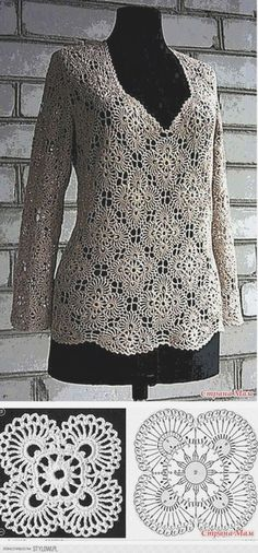 Fabulous Crochet a Little Black Crochet Dress Ideas. Georgeous Crochet a Little Black Crochet Dress Ideas. T-shirt Au Crochet, Beau Crochet, Pull Crochet, Mode Crochet, Crochet Tunic, Crochet Jacket, Crochet Diagram, Crochet Woman, Irish Crochet