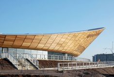 The 2012 Velodrome Olympic Stadium - an elegant building by Hopkins Architects that balances clean lines with sustainable building strategies.