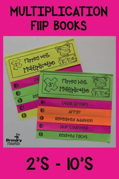 These 9 Multiplication Strategies Interactive Flip Books and anchor posters will help your students understand the concept of multiplication and help them memorize their multiplication tables. Each flip book follows the same format, so once your students learn how to do one, they can do the additional ones with greater independence. Each flip book includes the 5 multiplication strategies: • Equal Groups • Arrays • Repeated Addition • Skip-Counting • Related Facts $ #PrimaryFlourish