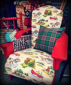 Upholstered Adirondack camp chair great for indoors or on the cabin porch and very comfortable in a wonderful lakeside camp fabric which is… The post Upholstered Adirondack camp chair great for indoor… appeared first on Woman Casual - Camping Vintage Cabin, Vintage Decor, Rustic Decor, Lakeside Camping, Cabin Porches, Little Cabin, Lake Cottage, Camping Chairs, Camping Decorations