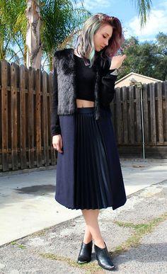 Zara Waistcoat, Zara Pleated Skirt, Dolce Vita Ankle Boots, Nasty Gal Cropped Sweater - Black and Blue - Christen Gerhart