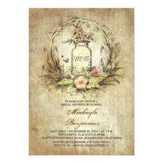vintage chalkboard frame floral bridal shower card | floral, Baby shower invitations