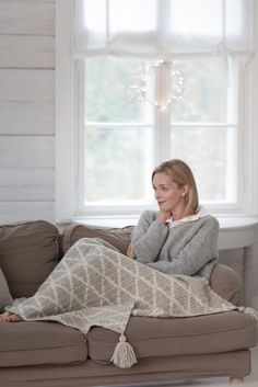 Nordic Yarns and Design since 1928 Crochet Curtains, Bean Bag Chair, Pillow Covers, Couch, Pillows, Knitting, Bed, Creative, Furniture