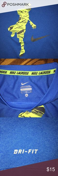 Boys' Nike DRI-FIT shirt...Size XL Awesome boys' Nike DRI-FIT shirt...blue in color with Swoosh and lacrosse player on front...excellent condition from a smoke free home! Nike Shirts & Tops Tees - Short Sleeve