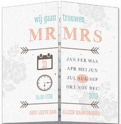 Vintage trouwkaart met luikvouw. Kraftpapier achtergrond met tekst in verschillende lettertypes en kalender.