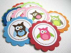 A set of cute owls favor tags for birthday or baby shower party. You can even use them as embellishment to dress up your DIY projects.  You will receive 12 owl gift tags.   Colors maybe different than shown, depending on availability; however, should you have preference in colors and/ or imag...