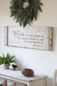 BLESS THE FOOD before us rustic dining room sign rustic fall decor prayer sign large kitchen sign farmhouse prayer sign Easy Home Decor, Home Decor Kitchen, Kitchen Ideas, Decorating Kitchen, Quinta Interior, Boho Dekor, Interior Design Minimalist, Contemporary Interior, Bless The Food