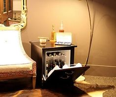 Mini Fridge End Table, could just put handles onto a normal mini fridge for some effect!  cooool :)