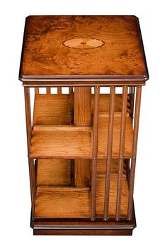 Burl Elm Revolving Bookcase With Fan Inlay