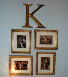 wedding pictures in gold frame and gold letter