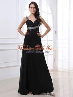 One Shoulder and Beading For Black Prom Dress- $147.38  http://www.fashionos.com  | floor length prom dress | sleeveless prom dress | chiffon prom dress | empire prom dress | one shoulder prom dress | black prom dress | under 150 prom dress | 2013 prom gowns | quince dresses |