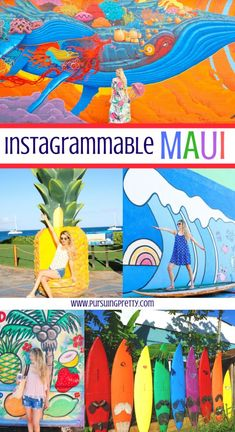 The BEST spots to get that perfect photo on the island of Maui, Hawaii. Don't miss these colorful, Instragrammable places on your next vacation! Trip To Maui, Hawaii Vacation, Maui Hawaii, Vacation Ideas, Hawaii Travel Guide, Maui Travel, Travel Usa, Travel Nursery, Hawaii Honeymoon
