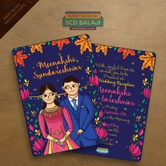 Caricature Illustrated wedding invitation card | Love how colourful this wedding invite is | Blue card with pink lotuses | Innovative Indian wedding invites | Creative invitation cards | Credits: Quirky Invites by SCD Balaji | Quirky wedding invites | Every Indian bride's Fav. Wedding E-magazine to read. Here for any marriage advice you need | www.wittyvows.com shares things no one tells brides, covers real weddings, ideas, inspirations, design trends and the right vendors, candid…