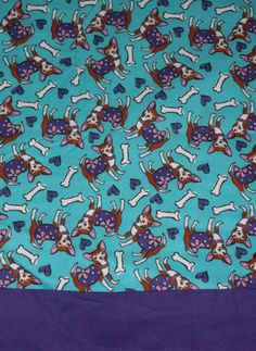 Chihuahua Dogs purple teal Flannel pillowcases by Gingerbread123