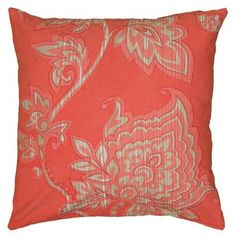 Check out this item at One Kings Lane! Liz 18x18 Pillow, Coral