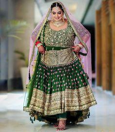 Dark green lehenga with heavy work paired with a churidar and a matching baby pink dupatta Sikh Bride, Punjabi Bride, Sikh Wedding, Wedding Girl, Punjabi Wedding, Bridal Outfits, Bridal Dresses, Plus Size Lehenga, Infinity Dress Ways To Wear