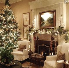 Christmas Living Room design via Pop Sugar Home #livingroomdesignstraditional