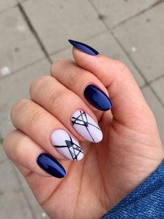 Almond nails dark blue #almondnails