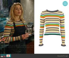 Felicity's striped sweater with ruffled cuffs on Arrow.  Outfit Details: https://wornontv.net/92592/ #Arrow