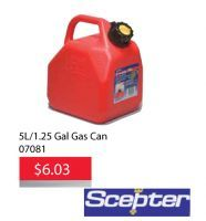 Get a Scepter 5L Gal Gas Can for only $6.03 until May 31, 2016. Perfect for lawn mowers, gas powered equipment, cars, trucks and more. This item features a self-venting spout and child resistant closure cap. Scepter developed the first plastic Jerry Can, setting the standard for the industry. https://aadiscountauto.ca/special/491/scepter-5l-gal-gas-can.html #Scepter #5LGasCan #AADiscountAuto #cheapautoparts #autopartsstore #bestgascan #gascansale #deal #hamilton #stoneycreek