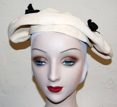 Vintage 40s 50s Open Crown Pleated Dolly Madison by LolaAndBlack, $34.00