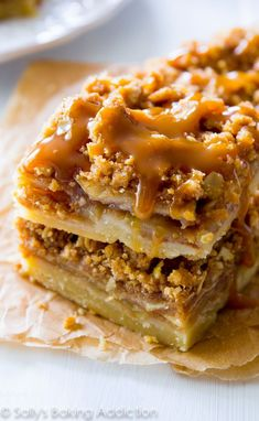 These Salted Caramel Apple Pie Bars are mind-blowing delicious! So much easier to make than an entire apple pie, too. Recipe by http://sallysbakingaddiction.com