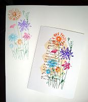 Colour stamp with markers & spritz with water (stamp twice to get images for two cards)