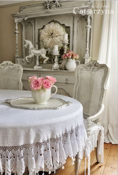 Shabby Chic Dining Room with Pretty Tablecloth.