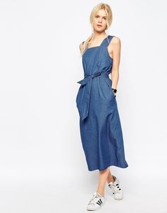 Image 1 of ASOS Denim Belted Midi Dress In Mid-Wash Blue