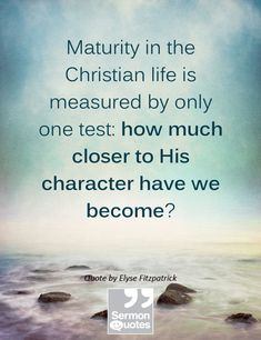 Maturity in the Christian life is measured by only one test: how much closer to His character have we become? — Elyse Fitzpatrick