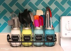 Decrease Drawer Clutter with Painted Utensil Jars : Apartment Living Blog it for my makeup brushes in the bathroom!
