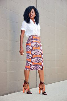 Safari Style Shirt x Printed Pencil Skirt