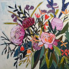 Wonderful contemporary botanical artwork by Lulie Wallace. Visit her .com site for more flower art love. Think I'm going to start saving for my very own Lulie Wallace piece.