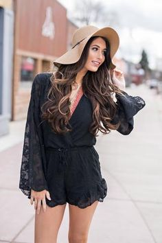 High Tide Lace Cinched Waist Bell Sleeve Romper (Black)