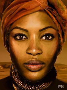 """A Woman"" - Sira Sandberg {contemporary figurative art female head african headdress black face portrait digital painting} sirasandberg.de"