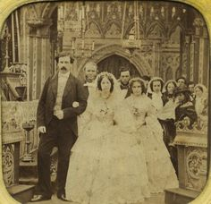 France Paris Wedding Ceremony old Stereo Tissue Photo 1865