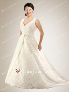 Sexy Princess V-neck Beaded Plus Size Wedding Dress with Appliques