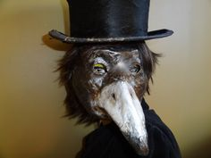 Will you Marry Me Paper mache raven mask crow mask magpies