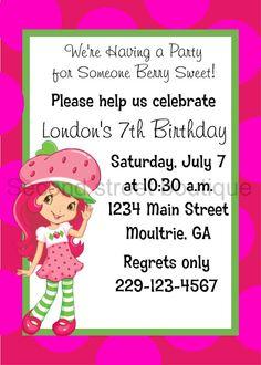 Strawberry Shortcake Birthday Invitation by PreppyPaperBoutique, $12.00