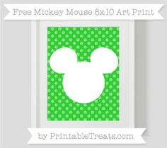 Free Lime Green Dotted Pattern Mickey Mouse 8x10 Art Print