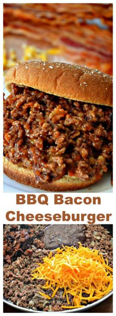 BBQ Bacon Cheeseburger Sandwich (use low carb/gluten free bacon BBQ sauce; serve… BBQ Bacon Cheeseburger Sandwich (use low carb/gluten free bacon BBQ sauce; serve on lc/gf bread; Easy Skillet Meals, Easy Meals, Bbq Bacon, Good Food, Yummy Food, Tasty, Healthy Food, Sandwich Recipes, Bacon Sandwiches
