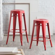 Have to have it. Red Round Metal Bar Stools - 2 Piece - $79.98 @hayneedle