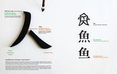Infográfico fotografado desenvolvido pela designer Tien-Min Liao, tendo como tema um enfoque acerca de caracteres tradicionais chineses.