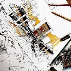 #Design #drawing #experiences William kirby #قدرت_پرسپکتیو از نظر تاریخی پرسپکتیوها متهم شده اند که با احساسات بازی میکنند و بنابراین… Architecture Logo, Amazing Architecture, Perspective Sketch, Building Sketch, House Sketch, Interior Sketch, Sketch Markers, Environment Design, Aesthetic Art